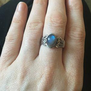 Sterling Silver Labradorite Celtic Swirl Ring